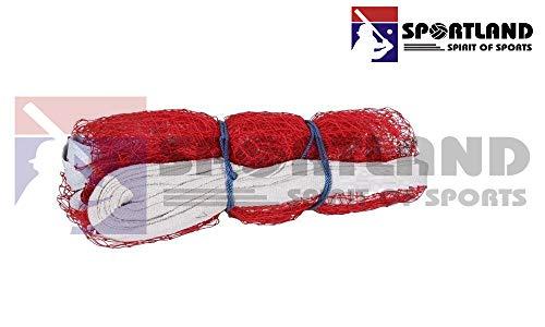 SPORTLAND Nylon Niwar Tetron 4 Side Tape Badminton Net for Indoor Outdoor Tournaments Practice Matches (White, Standard)