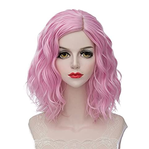 Lolita 40CM Short Curly Fashion Women Mixed Pink Anime Cosplay Wig + Wig Cap