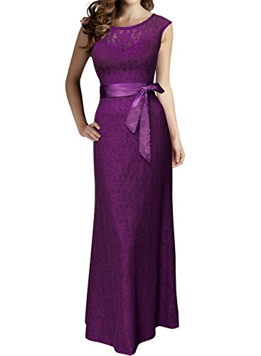 Miusol Damen Kleid aus Spitzen Rundhals Rueckenfrei Brautjungfer Cocktailkleid Fishtail Langes Abendkleid Lila-rot Groesse 3XL