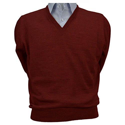 Iacobellis maglione uomo pullover scollo v misto lana merinos extrafine made in italy xl bordeaux