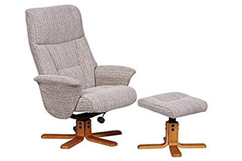 The Marseille Recliner Swivel Chair and Footstool (Wheat, Fabric)