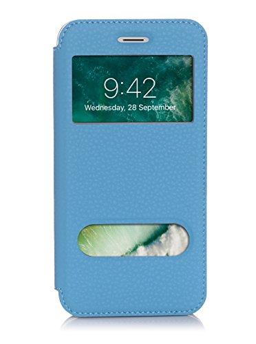 ISIN Cell Teléfono Móvil Series-Funda de Premium PU Smart Cover con View Window para Apple iPhone 7 Plus (Azul)
