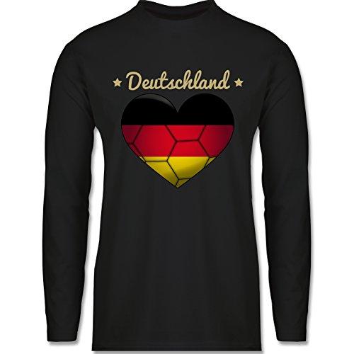 Handball - Handballherz Deutschland - Longsleeve / langärmeliges T-Shirt für Herren Schwarz