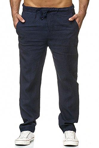 Zarlena Herren Hose Leinenhose Stoffhose Regular Fit Leinen Navyblau XL