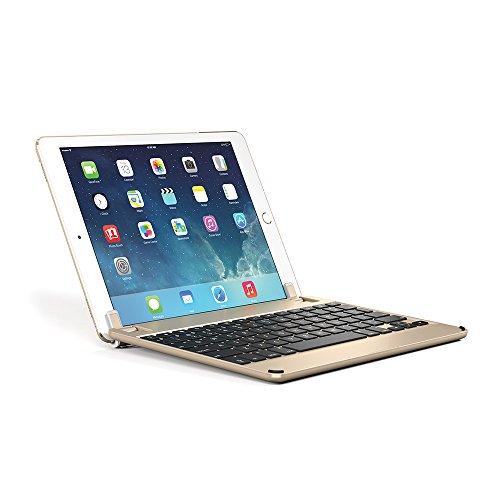 BRYDGE 9.7, Hochwertige Bluetooth Tastatur aus Aluminium, deutsches Layout QWERTZ, für das iPad Air, Air 2, iPad Pro, iPad 2017 und das neue iPad 2018, gold