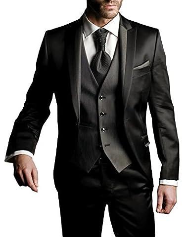 Suit Me Hommes 3 pi¨¨ces Costume Slim Fit costumes de veste de smoking f¨ºte de mariage, rayures gilet, pantalon noir 4XL