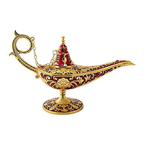 Metal Tallado Aladdin Lámpara Magic Vintage Inicio Té Aceite Olla Lámpara de Aladino Artesanía Regalo Rare Retro Leyenda Aladdin Genie Luz Deseando Lámpara Potable