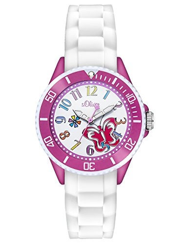 s.Oliver - SO-2994-PQ - Montre Fille - Quartz Analogique - Bracelet Silicone Blanc
