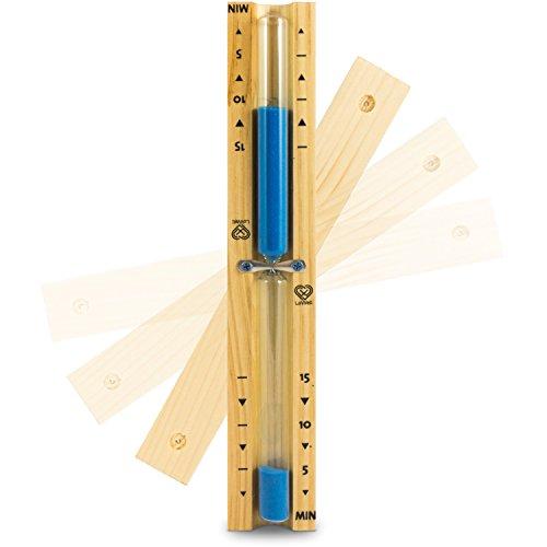 Lowell ❤ - Saunauhr - Sauna Sanduhr aus natürlichem Kiefernholz - Blauer Sand - hitzebeständiges Glas - Sand-Timer, Zeitmesser, Stoppuhr - hochwertiger Sand - Farbe Blau - 15min