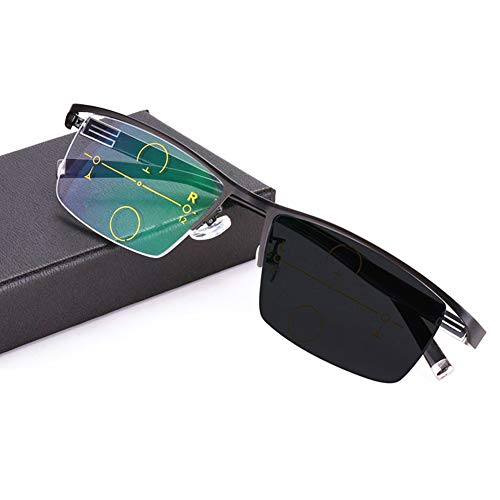 TCYLZ Progressive Multi-Focal, photochrom Lesebrille, Herren Lesebrille Sun Computer Lesebrille, Fern und Nah Dual Use Lesebrille - Outdoor Color Automatic Adjustment Sonnenbrille