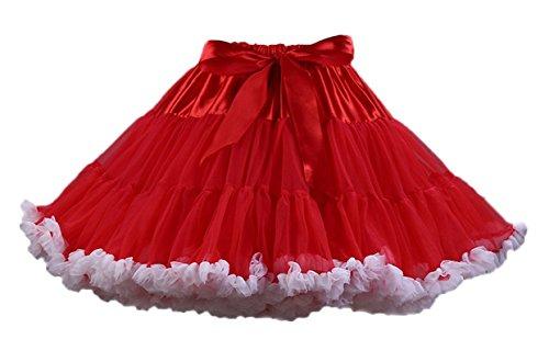 Ballettrock Kinder Mädchen Damen Tutu Rock Schleife Pettiskirt für Show Party Cosplay Rot und Weiß One Size ()