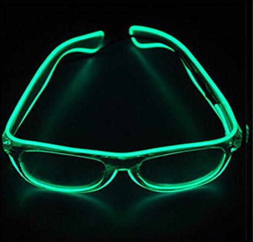 Dngdom LED-Licht bis Fashion Gläser beleuchtet LED Neon Brillen für Parteien, Kostüm, Ball, Disco Clubs, Halloween, Geburtstage, Festivals (grün)