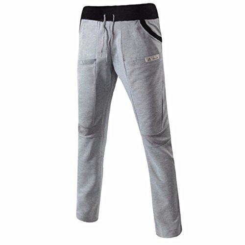 Men's Long Casual Joggers Trousers Light Gray Black