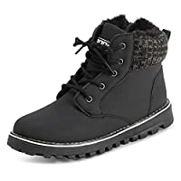POLAR Womens Memory Foam Biker Cardy Cuff Snow Boots Faux Fur Lined Welted Rubber Outsole Thermal Shoes