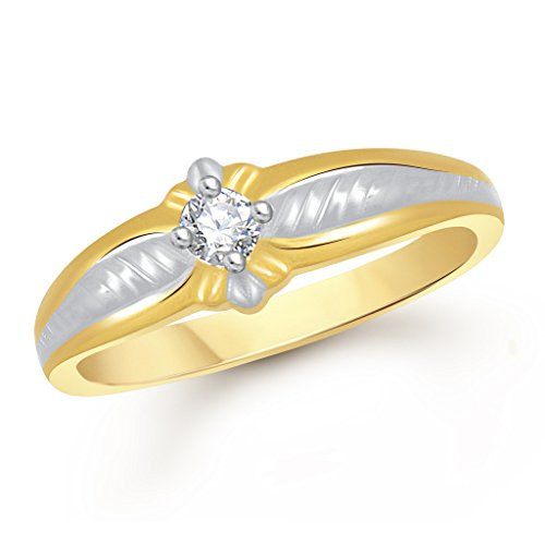 VK Jewels Single Stone Gold and Rhodium Plated Ring- FR1642G [VKFR1642G]