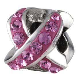 Silverado Du cancer du sein Charme Ruban Rose - Breloque en Argent 925/1000 - Similaire Pandora