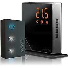 Momit Home Thermostat BMHTP - Kit de inicio (Termostato + Gateway) - Termostato inteligente para calefacción. Control por Smartphone. Con opción inalámbrica, negro