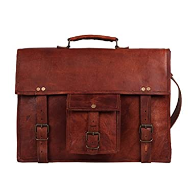 15 Inch Handmade Leather Laptop Messenger Bag – Office Briefcase College Bag by Rustic Town