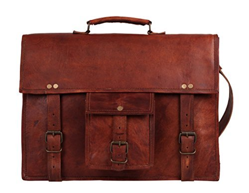 - 412eHups XL - Handmade Traditional Genuine Leather Messenger Shoulder Satchel Crossbody Bag for School Office Work for Men and Women Macbook Laptop Notebook with Vintage and Antique look Gift from Indian Artists