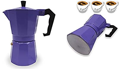 Italian Espresso Stove Top Coffee Maker Pot 3 Cup purple