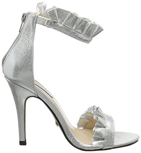 Quiz Silver Frill Barely Theres, Sandales Bride Cheville Femme Argenté
