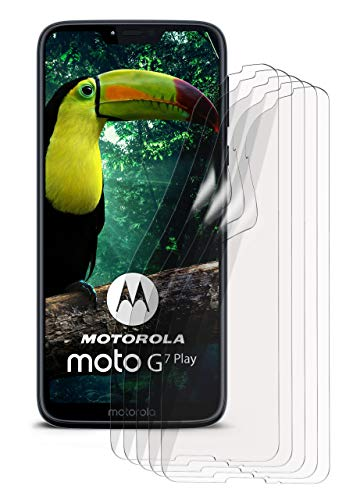 moex 5X Motorola Moto G7 Play | Schutzfolie Klar Bildschirm Schutz [Crystal-Clear] Screen Protector Display Handy-Folie Dünn Bildschirmschutz-Folie für Motorola Moto G7 Play Bildschirmfolie