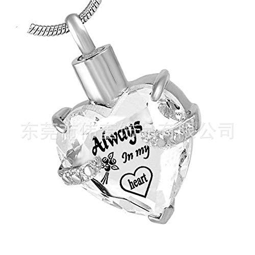 GROEOY Asche HalskettePet Asche Halskette herzförmige Asche Birthstone Anhänger Parfüm-Flasche April (Kleine Mädchen Birthstone Halsketten)