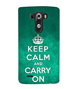 Fuson Designer Back Case Cover for LG G3 :: LG G3 Dual LTE :: LG G3 D855 D850 D851 D852 (keep calm be Calm be Cool Silence Carry On)