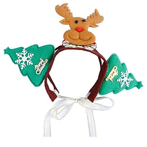 Outtybrave Kopfschmuck für Hunde und Katzen für Weihnachten und Halloween Haustier Katze Frisuren Santa Hüte Hund Katze Cosplay Kleid Zubehör Green elk
