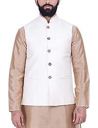 Kisah Cream Jaquard Cotton Silk Men's Waistcoat