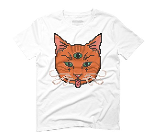 Pixel Cat Men's Graphic T-Shirt - Design By Humans White