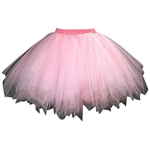 Tüllrock Damen Tüll Röcke Tütü Tutu Rock Kinder Mädchen Tüll Petticoat Unterrock Tüllröcke Kurz Karneval Ballett Tutu Kostüm Erwachsene Tütüs Prinzessin Fasching 50er Rockabilly Party Hochzeit Pink