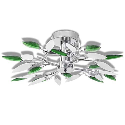vidaXL Lámpara de Techo Original Casquillo E14 Forma de Hojas Blanco y Verde