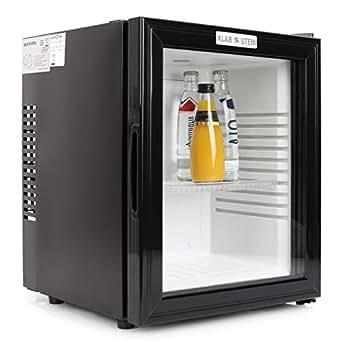 Klarstein MKS-13 Mini Kühlschrank Minibar Getränkekühlschrank mit Regaleinschub (36 Liter, leise, reinigungsfreundlich) schwarz-silber