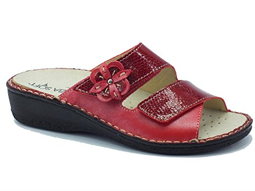 Ciabatta Cinzia Soft in pelle rossa doppio velcro (Taglia 35)