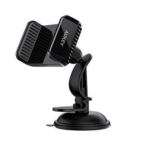 AUKEY Soporte Coche Ventosa Forte sobre cuadro de mando soporte teléfono coche para iPhone 7/6S/6/5S/5, Samsung S8, LG, Nexus, HTC, Motorola y Sony – negro