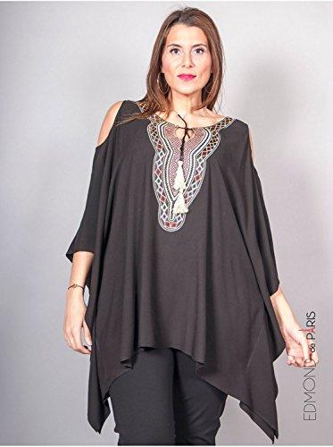 Vêtement Femme Grande Taille Tunique Edmond Boublil noire Noir