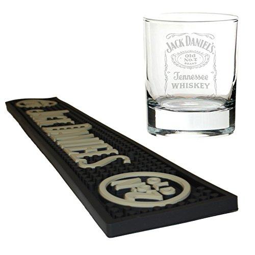 Jack Daniels Bier Matte/Bar Tischläufer mit Mixer Glas