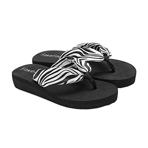BXT Sandales dété Femme Adulte Tongs Vogue Chaussures pour Piscine et Plage Chausson Sandales avec Soie Confortable Sandales Femmes Talon Compensé Tongs Bohême 003#