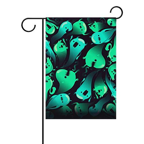 LINDATOP Ghost gruseliger Halloween-Hintergrund Garten-Flagge, 30,5 x 45,7 cm, doppelseitig, Hof-Dekoration, Polyester Outddor Flagge, Home Party, Polyester, Multi, 12x18(in)