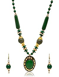 Jishan Fashion Green And Gold Non-Precious Metal Strand Necklace Set For Women (JF_040)