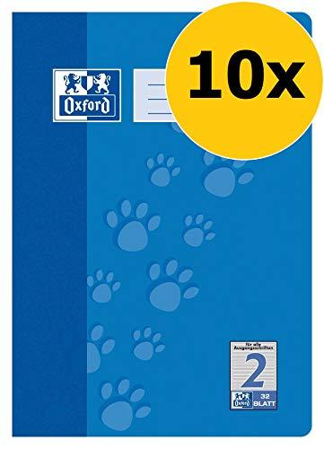 OXFORD 100050323 Schulheft Schule 10er Pack A4 32 Blatt Lineatur 2 (2. Klasse) blau (2. Liniertes Papier Klasse)