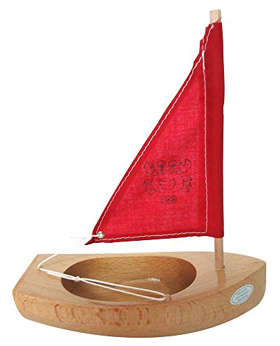 Tirot - 200 - Coque Naturel - Voile Rouge - Bateau jouet en bois navigable