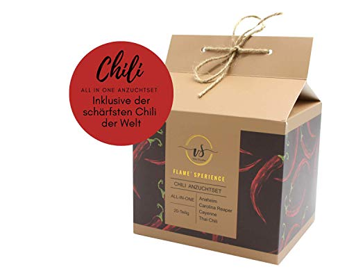 Chili Anzuchtset 2020 inkl. der SCHÄRFSTEN CHILI DER WELT - Carolina Reaper - Plant Kit/Anzuchtset/Pflanzset - Jalapeno, Thai Chili Samen - Geschenke für Mann & Frau - Valentinstag