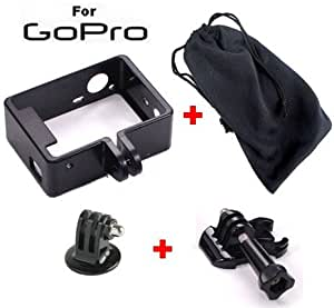 Fixation cadre THE FRAME pour caméra GoPro HD hero 3 & 3+ avec étui de rangement, adaptateur pied photo et clip de montage avec visserie (Support Fram Go Pro compatible White, Silver et Black Edtion)