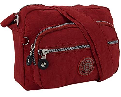 Kleine leichte Damen Schultertasche Umhängetasche aus hochwertigem wasserabwesendem Nylon (Rot) - Rote Schulter-tasche Handtasche