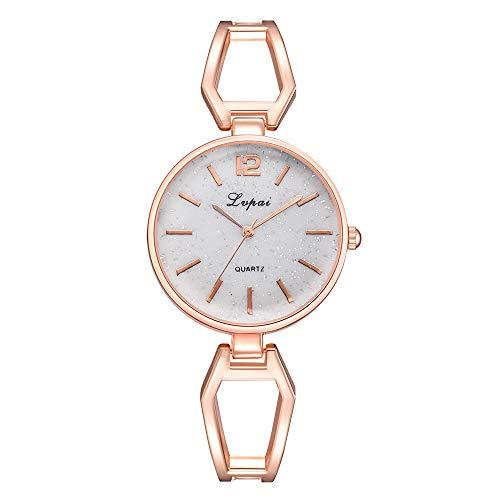CAMORNY Damenuhr Quarzuhr Armbanduhr Legierung Rundes Zifferblatt Elegante Freizeitkleidung Uhr Schmuckband Mode Uhr,White