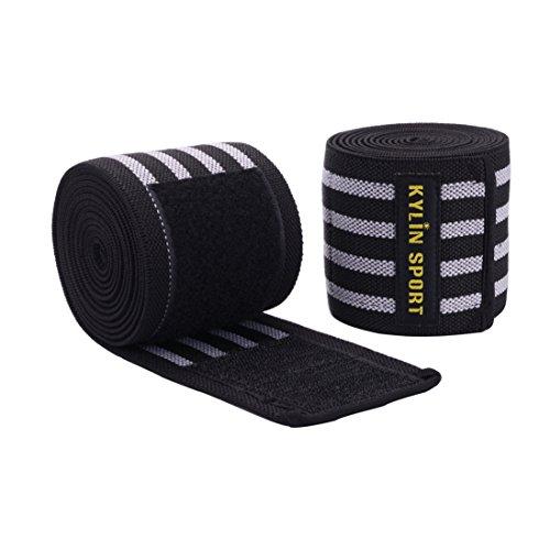 KYLIN SPORT 2 Pièces Paire de Protège de Genou 200cm Ceinture Bandage Protecteur Elastique et Réglable Genouillère Pour Entraînement Musculation Crossfit Powerlifting … (gris et noir avec le velcro)