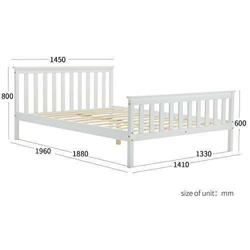UEnjoy White Double Bed Frame Wooden Bedroom Furniture