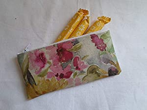 Handmade Oilcloth Tampon Case Holder - Voyage Sunflower Fabric